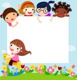 Lyckliga barn och baner Arkivfoton