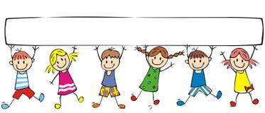 Lyckliga barn och baner, grupp av gladlynta ungar stock illustrationer