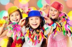 Lyckliga barn på karnevalet Royaltyfria Foton