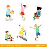 Lyckliga barn på lekbarnuppfostran sänker rengöringsdukinfograp Fotografering för Bildbyråer