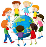 Lyckliga barn runt om världen stock illustrationer