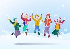 Lyckliga barn som har gyckel som hoppar upp på bakgrund för snödrivavintersnö med fallande snöflingor också vektor för coreldrawi vektor illustrationer