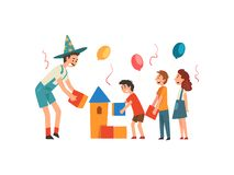 Lyckliga barn som har gyckel med tecknaren på födelsedagpartiet, underhållare i den roliga dräkten som spelar med ungevektorn royaltyfri illustrationer