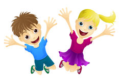 Lyckliga barn som hoppar i lufta royaltyfri illustrationer