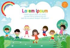 Lyckliga barn som hoppar och dansar på, parkerar, ungeaktiviteter, barn som spelar i lekplatsen, mall royaltyfri illustrationer