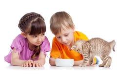Lyckliga barn som matar kattungen Arkivfoton