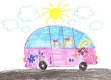 Lyckliga barn som rider i bil Teckning Royaltyfri Fotografi