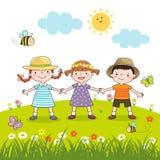 Lyckliga barn som rymmer händer på blomningäng vektor illustrationer