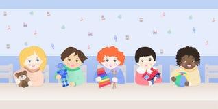 Lyckliga barn som spelar med leksaker royaltyfri illustrationer