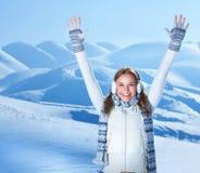 lyckliga berg för flicka Arkivfoto