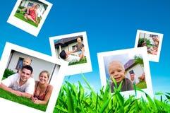 lyckliga bilder för familj arkivbild