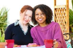 Lyckliga blandade lesbiska par fotografering för bildbyråer