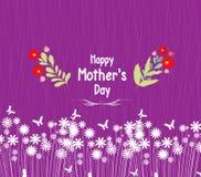 Lyckliga blommor för mors daghälsningkort Arkivfoto