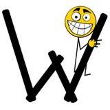 lyckliga bokstäver w för alfabet Arkivbild