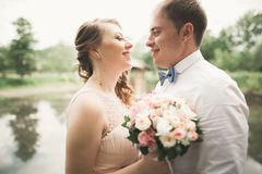 Lyckliga brölloppar som kramar och ler sig på bakgrundssjön, skog Royaltyfri Fotografi