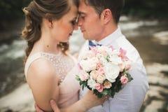 Lyckliga brölloppar som kramar och ler sig på bakgrundssjön, skog Royaltyfria Bilder