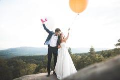 Lyckliga brölloppar som kysser och kramar nära en hög klippa Royaltyfri Fotografi