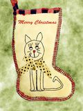 Lyckliga Cat Stocking royaltyfri bild