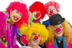 lyckliga clowner Arkivfoton