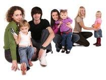 lyckliga collagefamiljer Fotografering för Bildbyråer