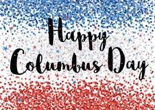 Lyckliga Columbus Day Illustration Vita och röda konfettier Backgound för blått, vektor illustrationer