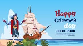 Lyckliga Columbus Day Ship In Ocean på kort för ferieaffischhälsning stock illustrationer