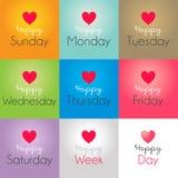 Lyckliga dagar av veckan vektor illustrationer