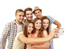 lyckliga deltagare för grupp Royaltyfri Fotografi