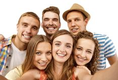 lyckliga deltagare för grupp Royaltyfri Bild