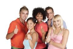 lyckliga deltagare för grupp Arkivfoton