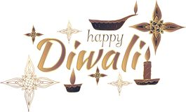 Lyckliga Diwali! Baner Vit bakgrund vektor vektor illustrationer
