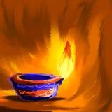 Lyckliga Diwali Diya royaltyfri illustrationer