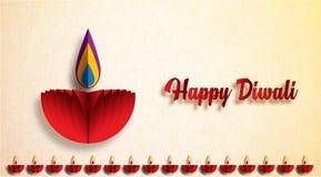 Lyckliga Diwali Diya lampor som tänds under diwaliberöm vektor illustrationer
