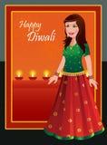 Lyckliga Diwali - indisk kvinna i traditionell dräkt royaltyfri illustrationer