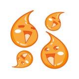 Lyckliga droppar av fruktsaft - maskot för tecknad filmtecken Fotografering för Bildbyråer