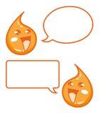Lyckliga droppar av fruktsaft med anförandebubblor - illustration för tecknad filmtecken Arkivfoto