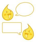 Lyckliga droppar av ny lemonad med anförandebubblor - illustration för tecknad filmtecken Arkivfoton