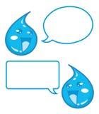 Lyckliga droppar av sötvatten med anförandebubblor - illustration för tecknad filmtecken Arkivfoton