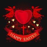 lyckliga easter Änglar rymmer stor röd hjärta card den easter hälsningen vektor illustrationer