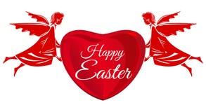 lyckliga easter Änglar stor röd hjärta med hälsninginskriften tillgänglig hälsning för korteaster eps mapp vektor illustrationer