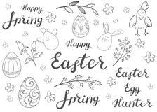 lyckliga easter En uppsättning av ägg, att märka och floristic beståndsdelar stock illustrationer