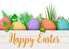 lyckliga easter Färgrika ägg för påsk i rad i den vita träspjällådan med matlagningörter ask med enkla prydnader Arkivbild