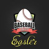 lyckliga easter ?gg i form av en baseballboll stock illustrationer