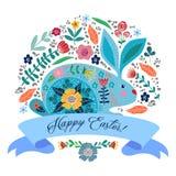 lyckliga easter Gullig folk kanin för tecknad film med blommor och band med text som isoleras på en vit bakgrund vektor stock illustrationer