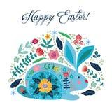 lyckliga easter Gullig folk kanin för tecknad film med blommor som isoleras på en vit bakgrund med text vektor royaltyfri illustrationer