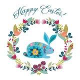 lyckliga easter Gullig folk kanin för tecknad film med kransen av blommor som isoleras på en vit bakgrund med text vektor stock illustrationer