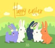 lyckliga easter gulliga kaniner stock illustrationer