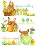 lyckliga easter Påskbeståndsdeluppsättning av baner gullig illustration för vattenfärg för kaninhandattraktion Royaltyfria Foton