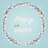 lyckliga easter Påskkransar med Willow Branches med blommor och ägg Semestrar garnering på vit bakgrund stock illustrationer