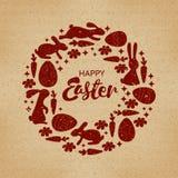 lyckliga easter Rund ram med gulliga påskkaniner, påskliljor och pilris Hälsningskort eller inbjudan Arkivbilder
